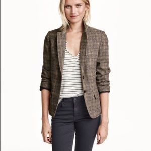 {H&M} brown tweed blazer with elbow patches